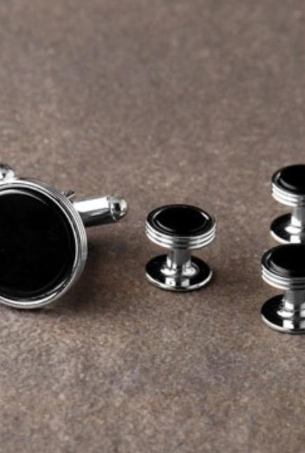Premium Onyx Triple Rim Silver Studs and Cufflinks Set