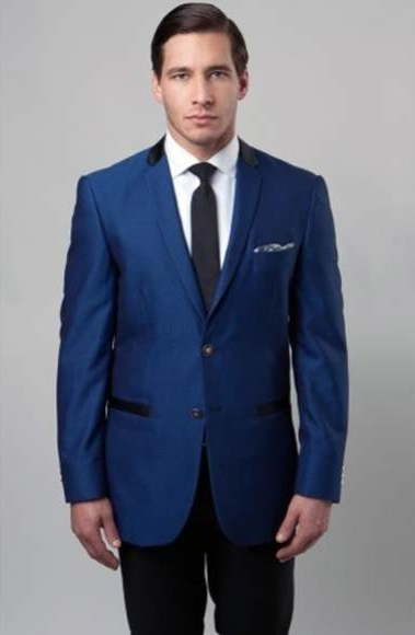 Buy SM2896 Mens Dark Blue Slim Fit Poly Rayon 2 Button Notch Lapel Single Breasted Side Vent Suit