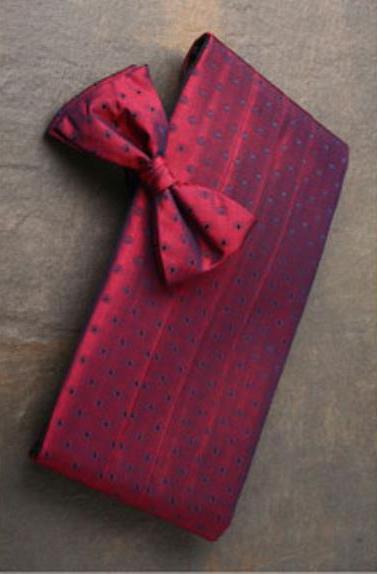 1950s Tuxedos and Men's Wedding Suits Burgundy  Blue Dots Premium Silk Cummerbund  Bow Tie Set $70.00 AT vintagedancer.com