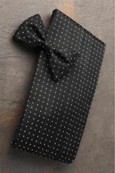 1950s Tuxedos and Men's Wedding Suits Black Premium Silk Cummerbund  Bow Tie Set $70.00 AT vintagedancer.com