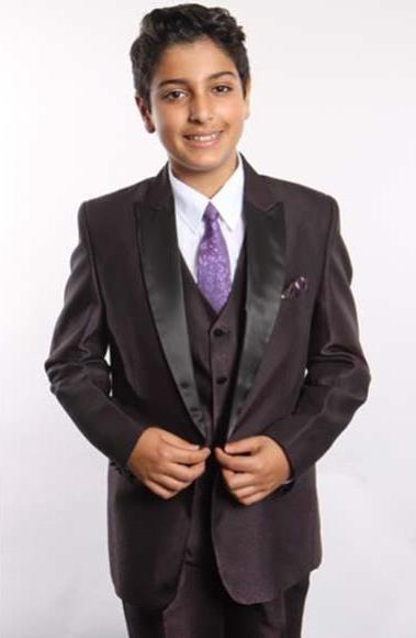 Boys 5 Piece Plum Satin Peak Lapel Two Button With Shirt,Tie & Hanky Vested Suit