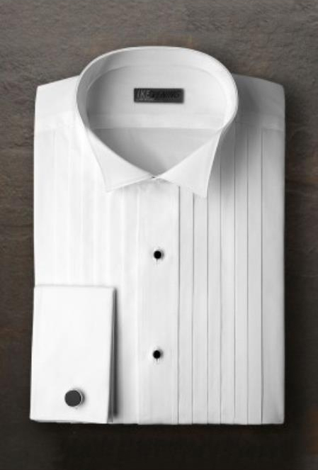 Alexander White Pleated Wingtip Tuxedo Shirt Ike Evening by Ike Behar Tuxedo Authentic Brand