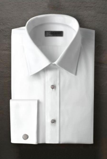 Logan White Laydown Tuxedo Shirt Ike Evening by Ike Behar Tuxedo Authentic Brand