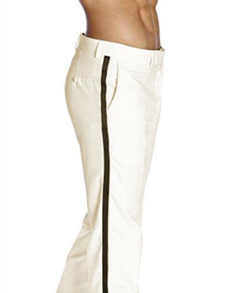 SKU#SM2918 Men's Black Satin Stripe Classic Fit Solid Ivory Tuxedo Flat Front Pant