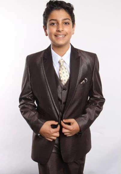 Boys Brown Poly Rayon Satin Peak Leapel 5 Piece Vested Suit With Shirt, Tie & Hanky