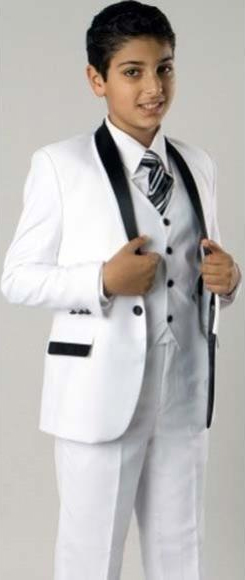 Boys 1 Button Closure Shawl Lapel Fashion Two Tone Design White/Black 3 Piece Suit