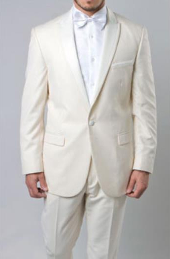 Mens Off White 1 Button Slim Fit Prom Suit