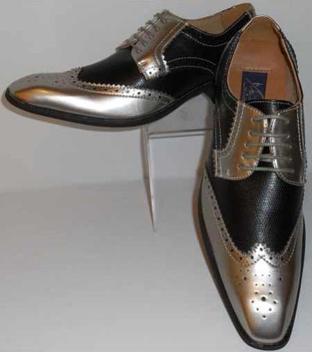 Mens Gorgeous Wingtip Laceup Style Antique Metallic Silver & Black Dress Shoes