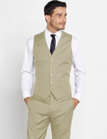 1920s Style Mens Vests Mens Vest  Matching Dress Pants Set  Any Color Shirt  Tie Beige $120.00 AT vintagedancer.com