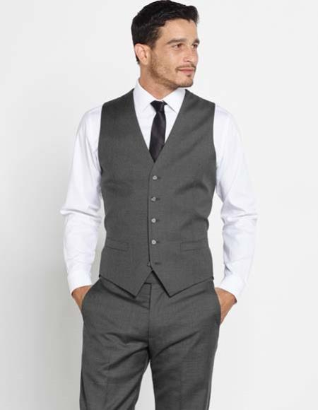 Men's Vintage Pants, Trousers, Jeans, Overalls Mens Wool Dark Grey Vest Matching Dress Pants Color Shirt Tie $120.00 AT vintagedancer.com