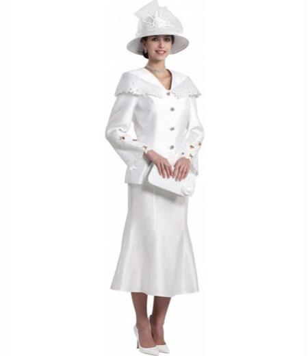 Buy SM3008 Women's White Formal 3 Piece Long Sleeve Dress Church Skirt Suits Set