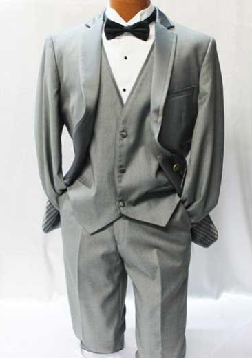 Giorgio Fiorelli Grey ~ Gray Vested Tuxedo Suit Mens Suits Vested 3 Piece