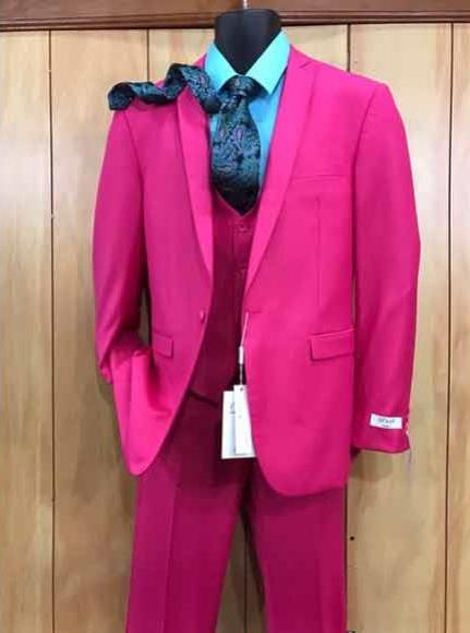 Mens Fuchsia Hot Pink Color 2 Buttons Suit Vested Slim Fit Suit