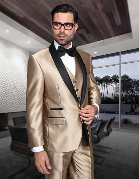 Beige Tuxedo Black Lapel 2 Toned Vested 3 Piece Wedding   Prom Suit.  199.  Si la fiesta de graduación ... 028bd1b047b2