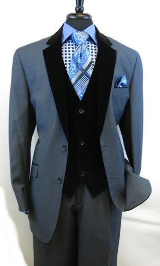 Mens Blue Velour Notch Velvet Lapel Vested Two Button Single Breasted Side Vents Tuxedo Black Lapeled 2 toned Suit