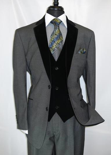 Mens Notch Velvet Lapel Single Breasted Two Button Grey Velour Vested Side Vents Tuxedo Black Lapeled 2 toned Suit