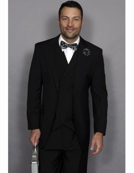 Mens Double Breasted Fashion Suit Black $179