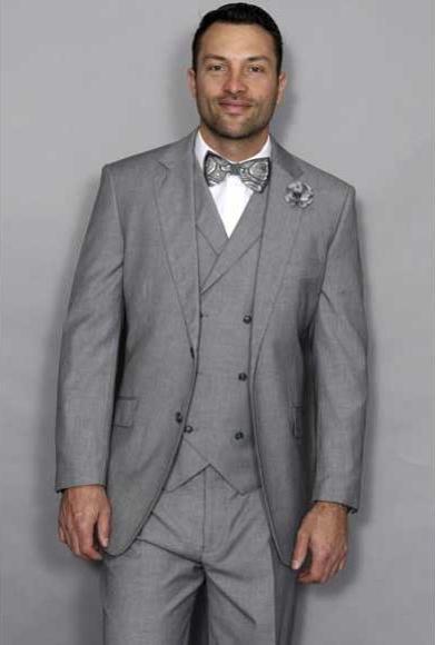 afe829ff39e4 Statement Men's Italian Style Wool Notch Lapel 3 Piece Double ...