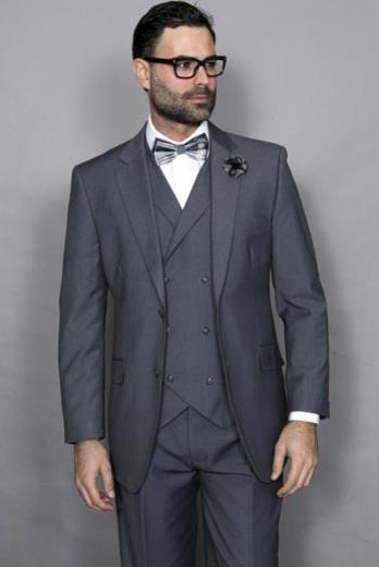 Statement Confidence Mens Wool Solid Charcoal 3 Piece Italian Style Double Breasted Vest Suit