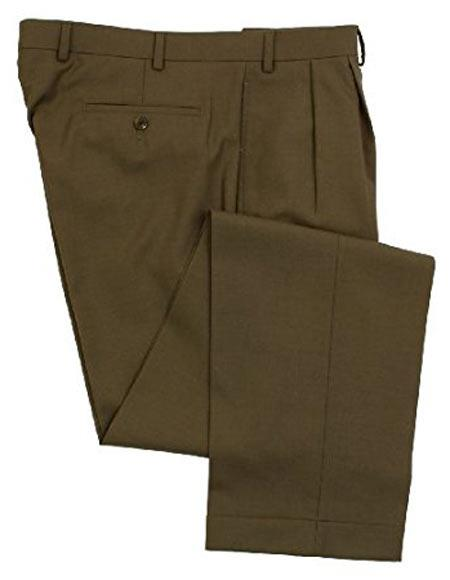 Ralph Lauren 100% Wool Double-Reverse Pleated Lined To The Knee Dress Pants Slacks Olive Green unhemmed unfinished bottom