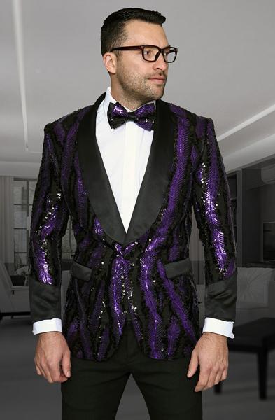 Buy SM3076 Mens Shiny Sequin Paisley Blazer Dinner Jacket Sport Coat Jacket Sharkskin Flashy Stage Purple/Black