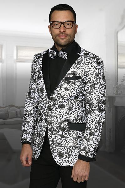 Buy SM3070 Mens Shiny Sequin Paisley Blazer White/Black Dinner Jacket Sport Coat Jacket Sharkskin Flashy Stage