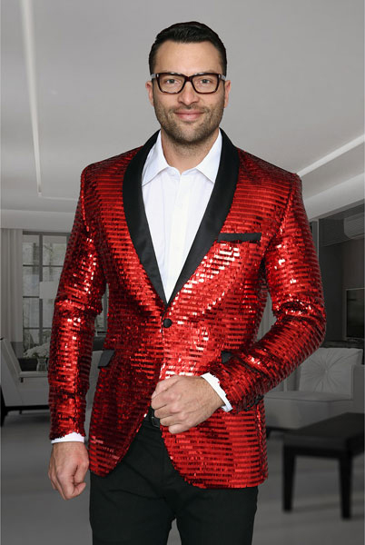 Mens Shiny Sequin Paisley Cheap Blazer Jacket For Men Slim Fit Red Dinner Jacket Sport Coat Jacket Sharkskin Flashy Stage