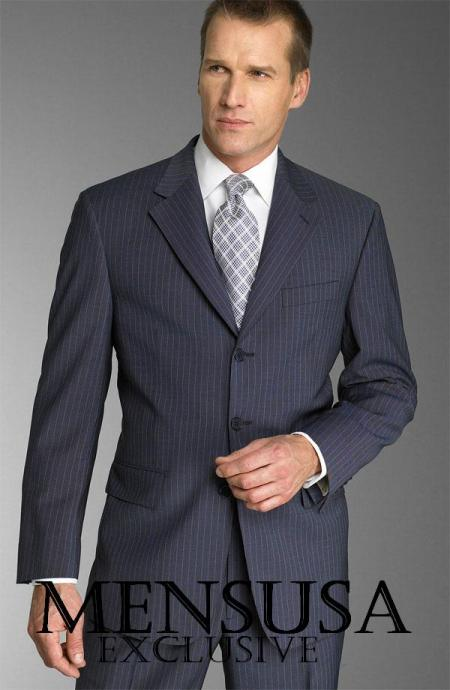 SKU# ZL5 Dark Navy With Small Pinstripe Super 140s Wool premier quality italian fabric Suit $175