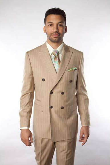 1920s Mens Suits | Gatsby, Gangster, Peaky Blinders Mens Beige  Tan  Sand Stripe 1 Wool Super 150S Pinstripe Double Breasted Suit $199.00 AT vintagedancer.com