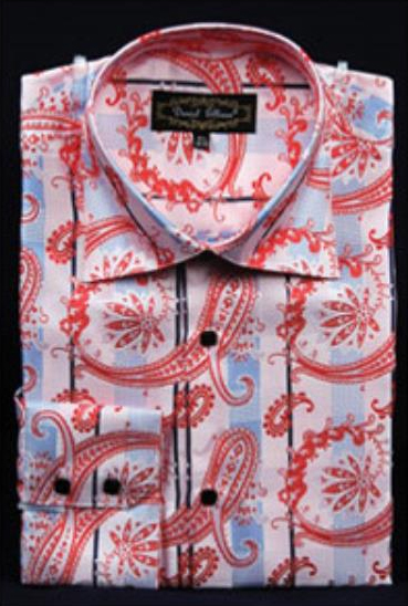 Mens Pink Fancy Shiny Paisley High Collar Dress Shirt
