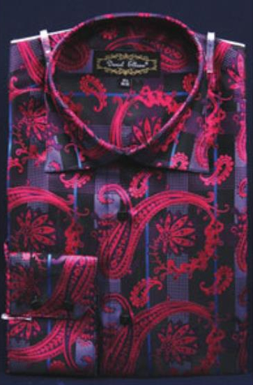 Buy SS-GQ30 Mens Fuchsia Fancy Shiny Paisley High Collar Pink Color Dress Shirt