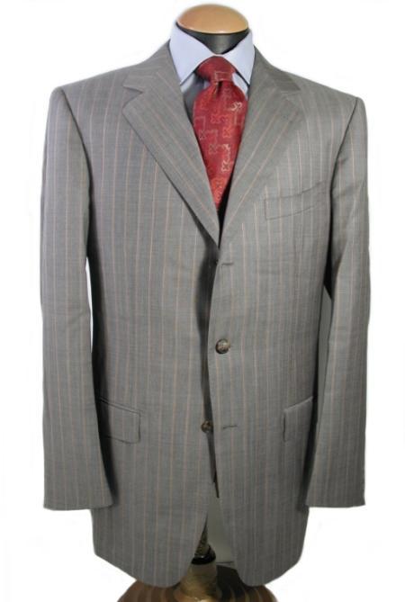 SKU# ZT57 Mens 3 Buttons Light Gray Pinstripe Italian Super 140 Wool premier quality italian fabric
