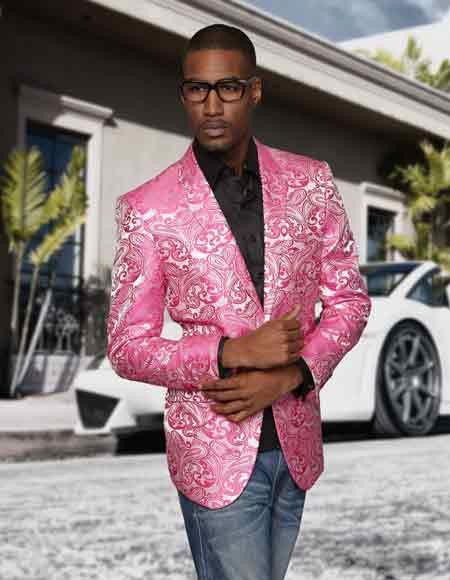 Sequin Paisley Colorful Stage / Prom / Entertainer Fashion Fuschia Sport Coat Blazer Jacket