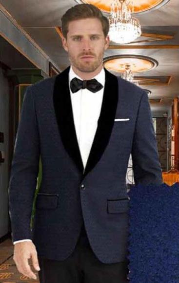 Mens Single Breasted Dark Blue Shawl Lapel 1 Button Closure Tuxedo Suit
