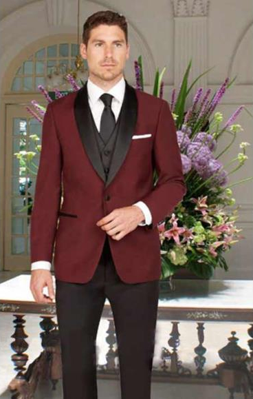 Mens Slim Fit Black and Burgundy ~ Wine ~ Maroon Color Single Breasted 1 Button Shawl Lapel Vest Tuxedo With Black Pant