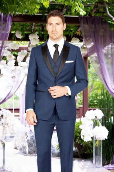Mens Slim Fit 1 Button Satin Peak Lapel With Matching Vest French Blue Arlan Tuxedo