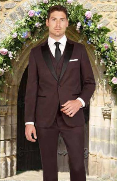 Mens Black and Burgundy ~ Wine ~ Maroon Color Slim Fit 1 Button Satin Peak Lapel Mini Teakweave Vested Tuxedo