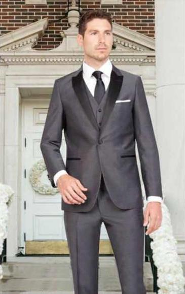 SKU#SM3116 Men's Dark Gray Sharkskin Slim Fit 1 Button Satin Peak Lapel Vested Tuxedo