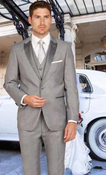 Mens Slim Fit 1 Button Satin Peak Lapel Light Gray With Matching Vested Tuxedo
