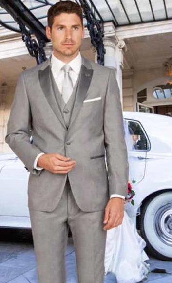 SKU#SM3110 Men's Slim Fit 1 Button Satin Peak Lapel Light Gray With Matching Vested Tuxedo