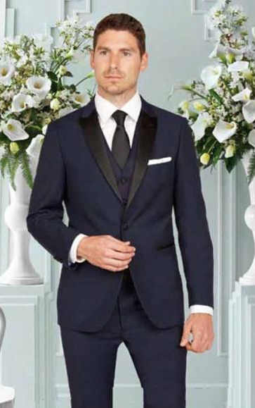 Black Arlan peak Satin lapel Tuxedo Men/'s  3 pcs 1 button Slim fit with Vest