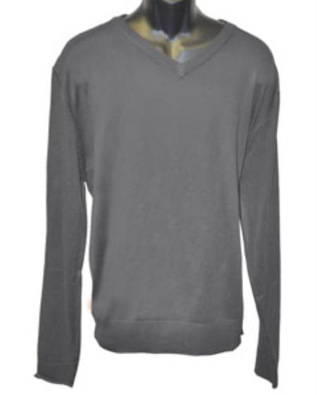 Mens Charcoal V Neck Long Slevee Sweater