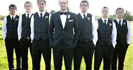 Groomsmen Package Deal Vest & Pants Slacks + Shirt & Tie Set (no Jacket) Black