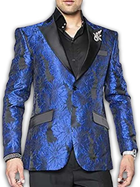 Mens Royal Blue 2 Button Satin Peak Lapel Paisley Sport Coat Blazer Dinner Jacket Tuxedo Single Breasted Fashion Blazer