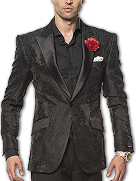 Men's Black paisley Floral Satin Peak Lapel Two Button Fully Lined Fashion Sport Coat Blazer Tuxedo