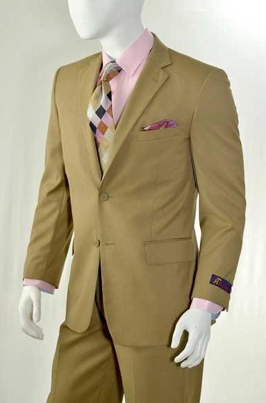 Mens Slim Fit Solid Khaki Notch Lapel 2 Button Suit With Flat Front Pants