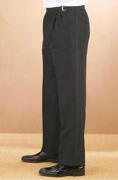 Mens Classic Fit Solid Black Adjustable Waist Polyester Pleated Tuxedo Pants unhemmed unfinished bottom