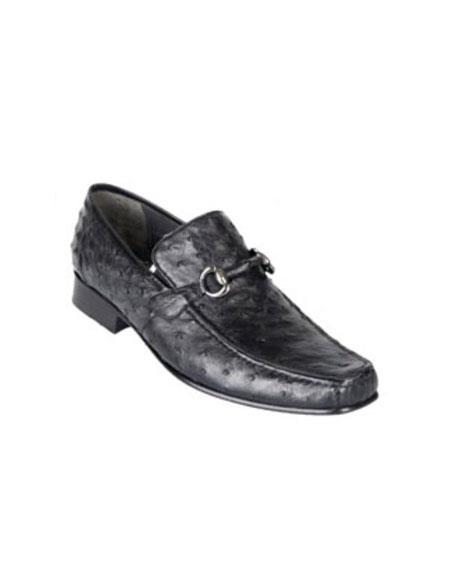 Los Altos Black Genuine Ostrich Quill Bit Stylish Dress Loafer Shoes
