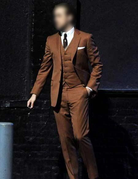 Men's Brown ~ Cognac ~ Rust Ryan Gosling La La Land 2 Button Notch Collar Vested Suit