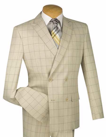 Buy SM3269 Men's 4 Button Slim Fit Tan Windowpane Pattern Peak Lapel Double Breasted Suit